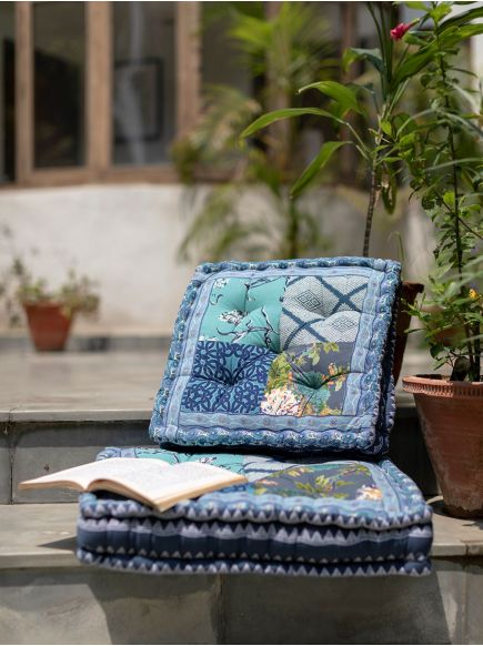 Patchwork Floor Cushion : Blue