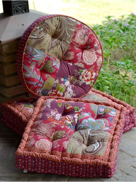 Patchwork Floor Cushion : Red