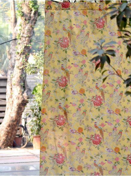 Voile Curtain : Bird Yellow