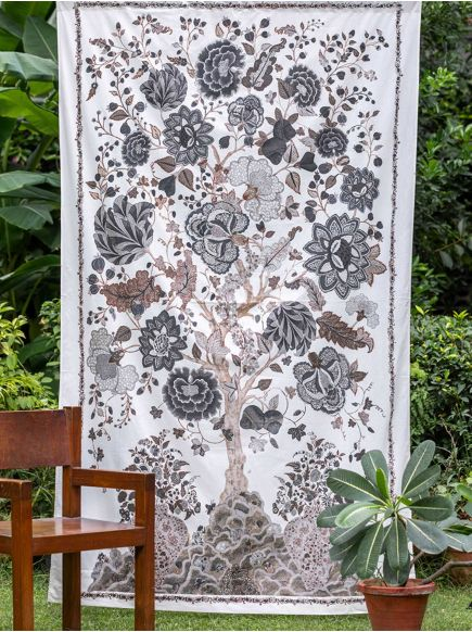 Voile Curtain : Tree of Life Graphite