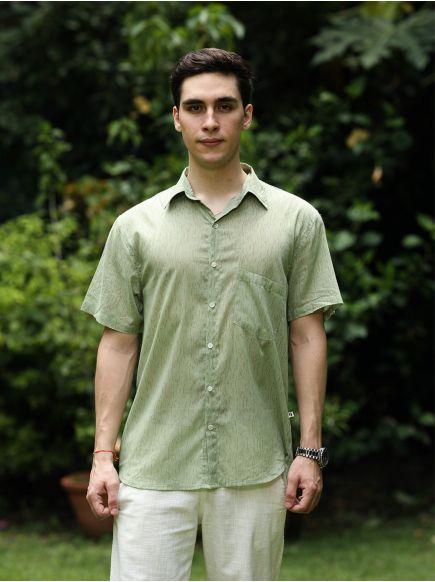 Xavier H/S Shirt : Broken Lines Sage