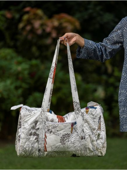 Kate Duffle Bag : Bird Black & White