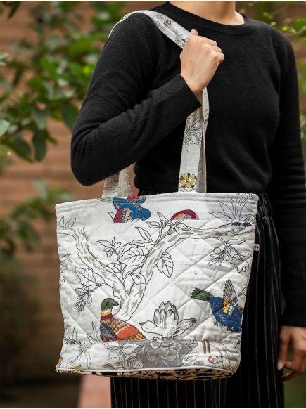 Megda Bag : Bird Black & White