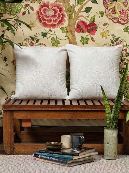 Aari Emb Cushion Cover : Deer