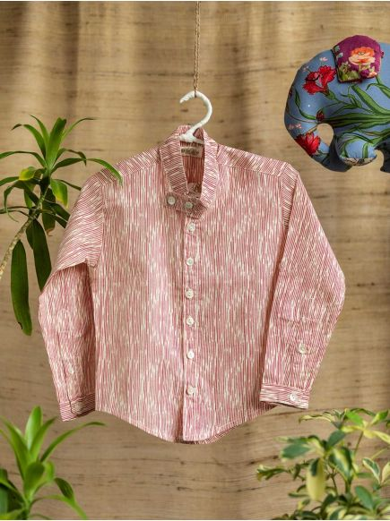 Madras Shirt Kids : Broken Lines Cream