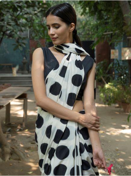 Saree Tie & Dye : Circle Black