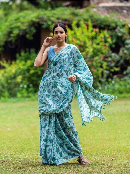 Saree : Kerala Aqua