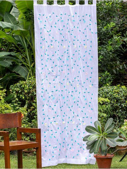 Applique Organdy Curtain : Aqua on White