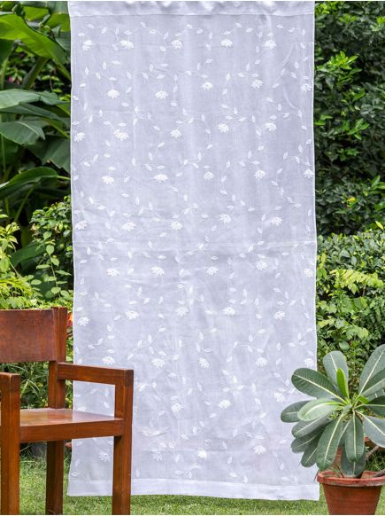 Applique Organdy Curtain : White