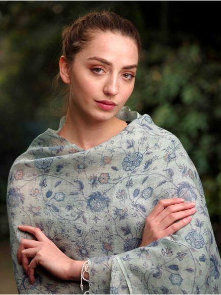 Linen Stole : Swati Blue