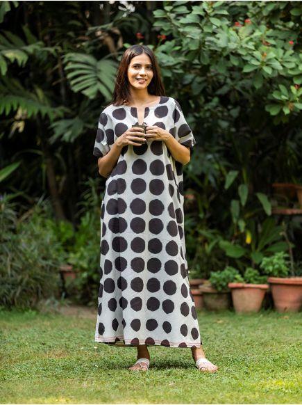 Bangla Kaftan Tie Dye : Circle Black