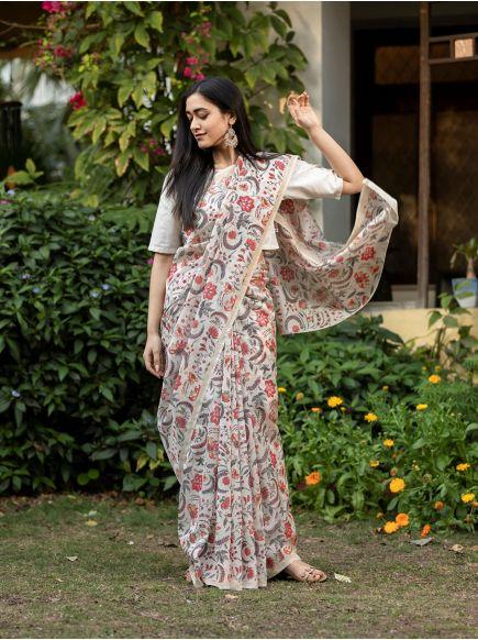 Chanderi Silk Saree : Pulicat Natural