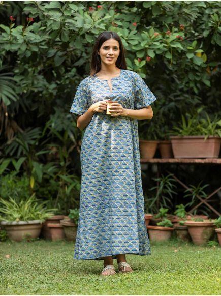 Bangla Kaftan : Phulkari Blue