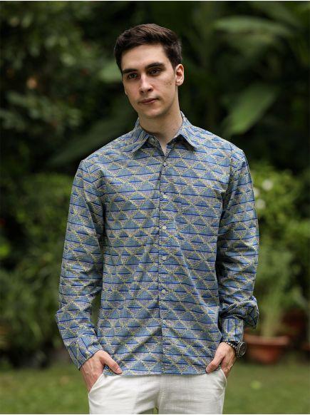 Xavier F/S Shirt : Phulkari Blue