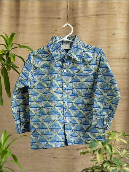 Angad Shirt F/S : Phulkari Blue