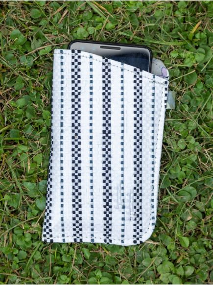 Upcycled Cell Phone Cover : Taat Embroidered Black& White