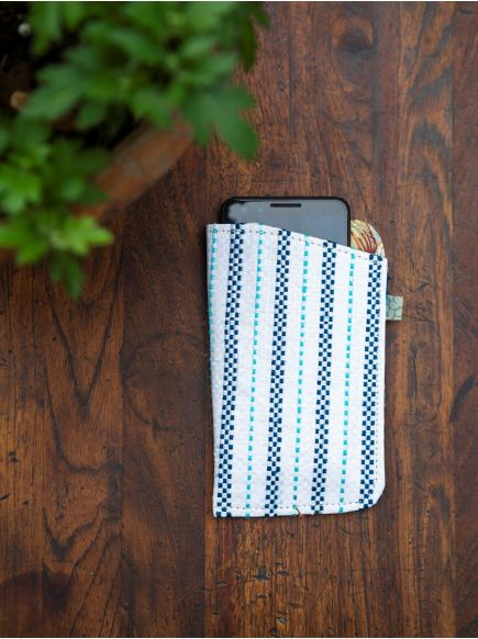 Upcycled Cell Phone Cover : Taat Embroidered Blue White