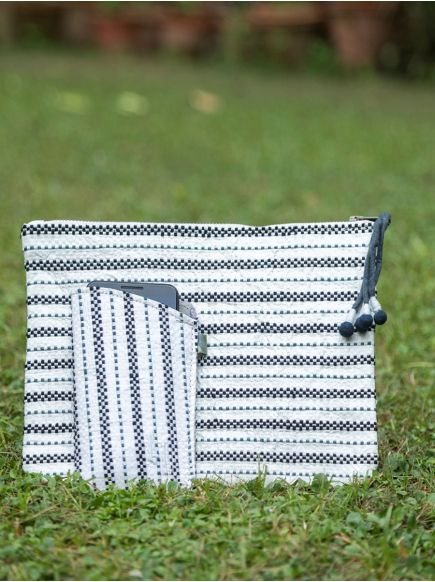 Upcycled Cosmetic Bag : Taat Embroidered Black & White