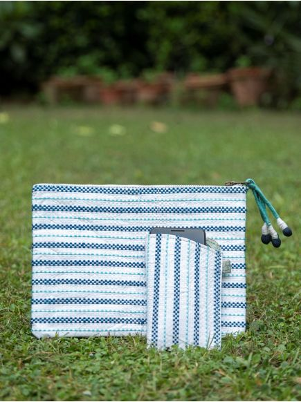 Upcycled Cosmetic Bag : Taat Embroidered Blue & White