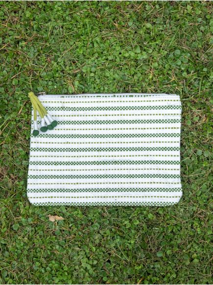 Upcycled Cosmetic Bag : Taat Embroidered Olive & White