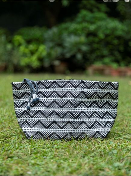 Upcycled Pouch : Taat Embroidred Black & White