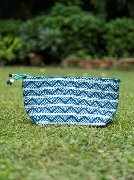 Upcycled Pouch : Taat Embroidred Blue & White