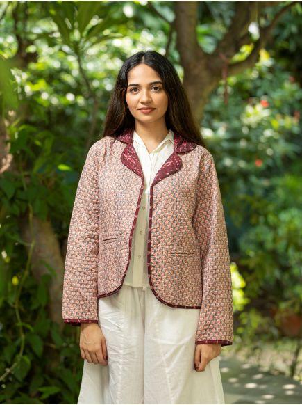 Lapel Reversible Jacket : Kamal Booti Grey