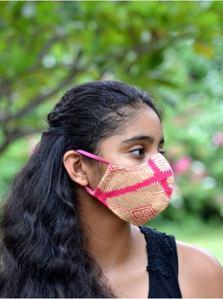 Adult Pattern Mask with Pouch : Aztec Pink