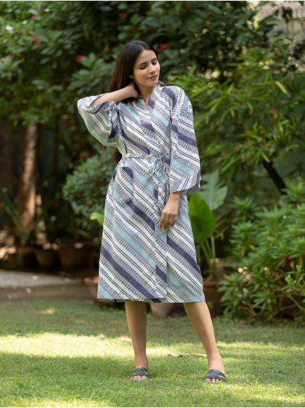 Kimono Reversible : Spades Blue