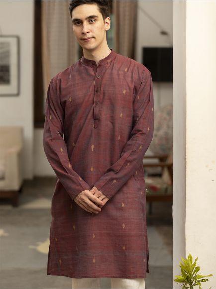 Jamdani Men's Long Kurta : Maroon