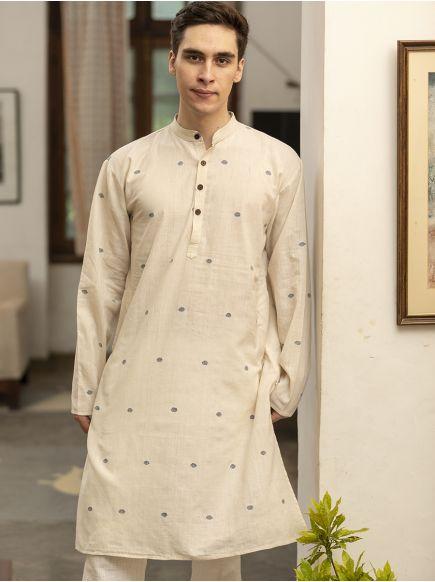 Jamdani Men's Long Kurta : Cream-Blue