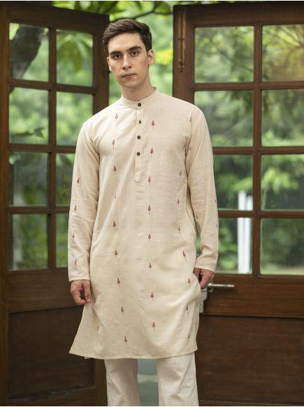 Jamdani Men's Long Kurta : Cream-Red