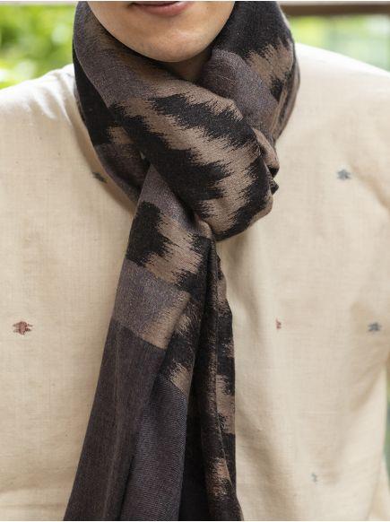 Ikat Soft Wool Stole : Black-Grey
