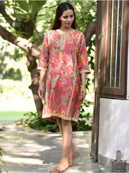 Khajana Dress : Bird Coral