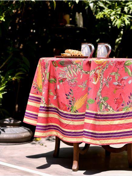 Table Cloth Round : Bird Coral