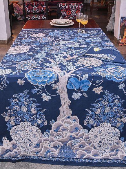 Table Cloth : Tree of Life Indigo