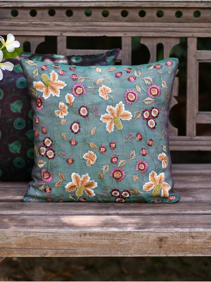 Embroidery Cushion Cover : Tropica Green