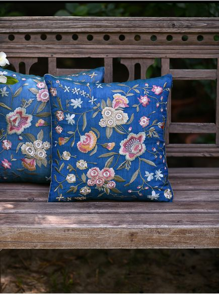 Embroidered Cushion Cover : Vienna Blue