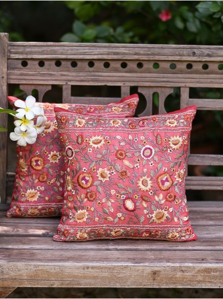 Embroidery Cushion Cover : Memphis Red