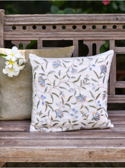 Embroidered Cushion Cover : Versailles Natural
