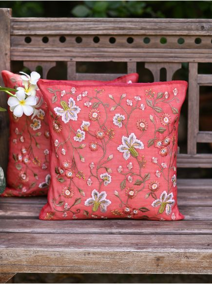 Embroidered Cushion Cover : Tropica Red
