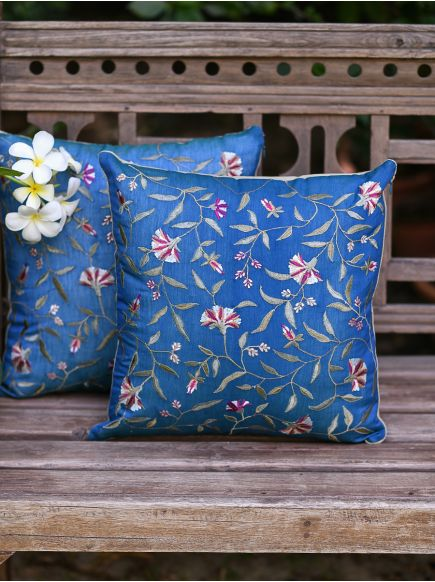 Embroidered Cushion Cover : Versailles Blue