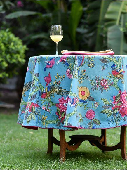 Table Cloth Round : Bird Teal