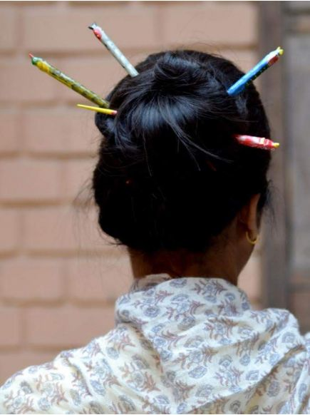Hand Painted Hair Stick : Assorted