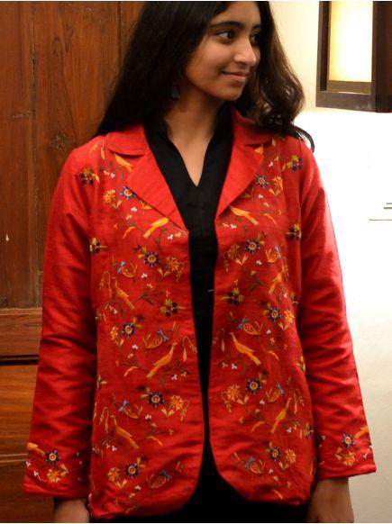 Lapel Jacket Emb : Bird Red