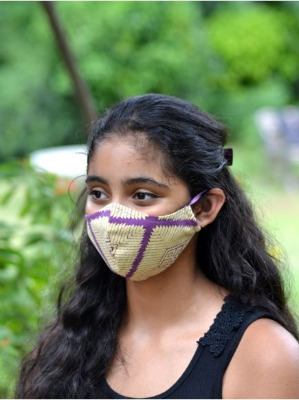 Adult Pattern Mask with Pouch : Aztec Purple