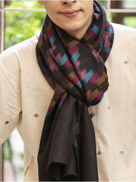 Ikat Soft Wool Stole : Multi on Black