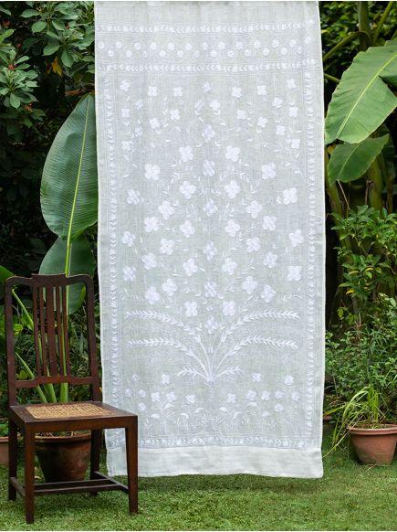 Aari Emb Linen Curtain : Natural