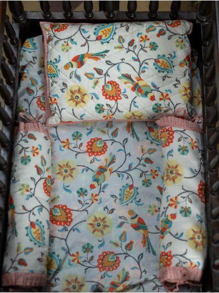 Baby Bed Set : Bird Cream