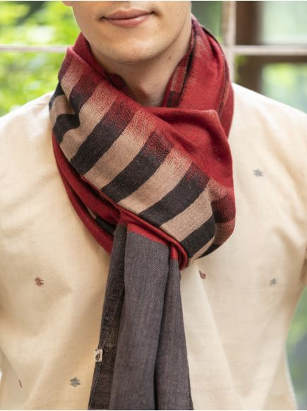 Ikat Soft Wool Stole : Red on Grey